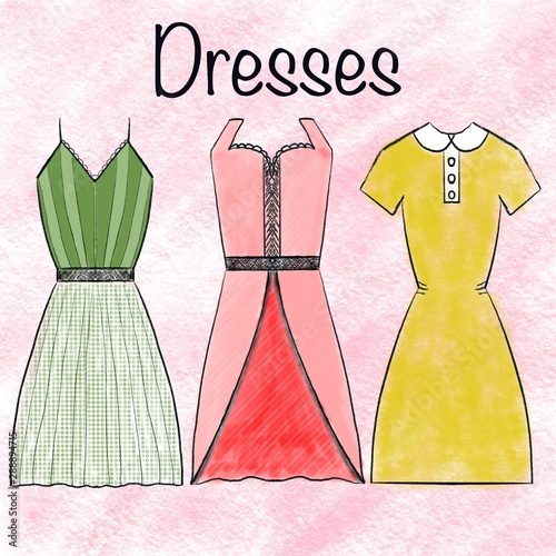 Watercolor Elegant Decoration Dresses Collection On Pink Background Fashion Style Beauty The Concept Of Teaching Children Books Fashion Textiles Colorful Texture Buy This Stock Illustration And Explore Similar Illustrations At Adobe