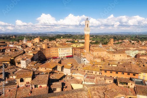 Poster Oude gebouw Panoramic view of Siena city in Italy with Piazza del Campo and the Torre del Mangia, Tuscany region, Italy