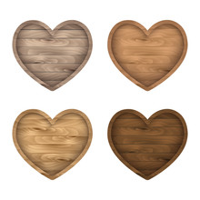 Wooden Heart Sign Set. Vector Realistic Wood Board, Frame, Badge, Label, Shield, Signboard Collection. Brown Background For Your Text.