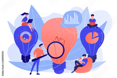 Fototapeta Big lightbulbs and business team working on solution. Business solution and support, problem solving and decision making concept on white background. Living coral blue vector isolated illustration obraz