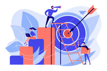 Businessman On Top Looking Into Telescope And Employees. Business Opportunity, Bizopp And Franchising, Distribution Concept On White Background. Living Coral Blue Vector Isolated Illustration