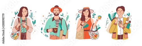 Fototapeta Green lifestyle flat vector illustrations set