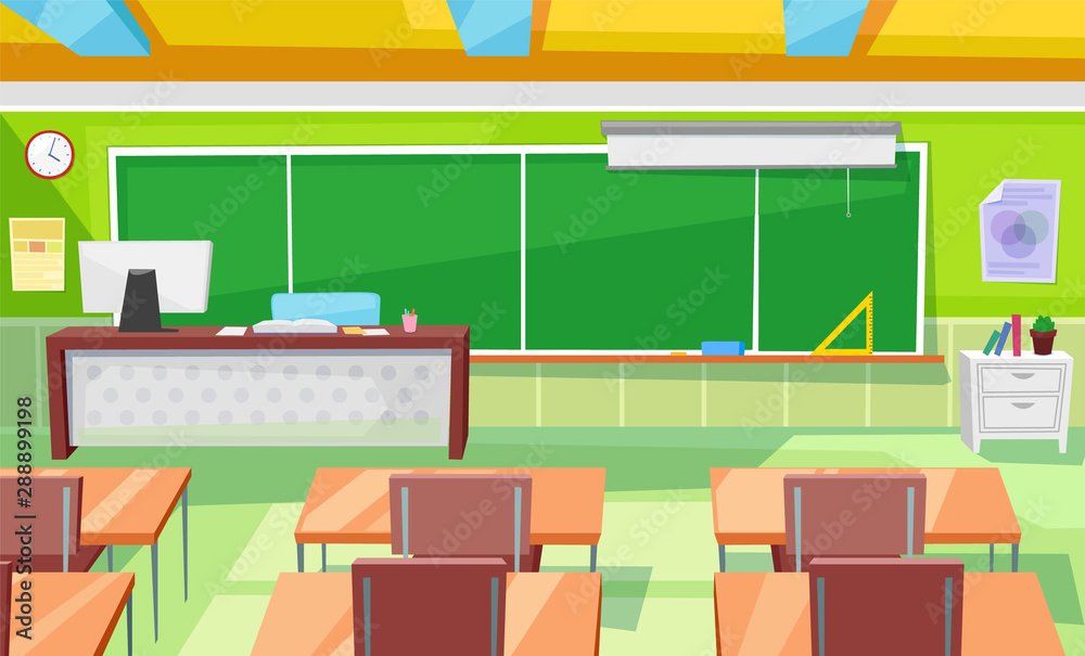 Fototapeta Teacher table and children desks vector, classroom interior with blackboard and supplies. School room 3d isometric style, rows of workplaces and chairs. Back to school concept. Flat cartoon