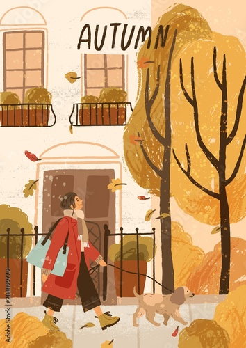 Autumn mood hand drawn greeting card vector template. Autumn poster, seasonal postcard layout. Leaf fall, young woman on outdoor stroll with pet. Smiling girl walking dog illustration with typography.