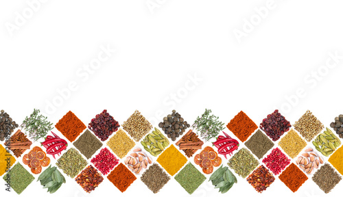 Tela Seamless horizontal pattern with different spices