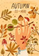 Autumn Is Here Flat Greeting C...