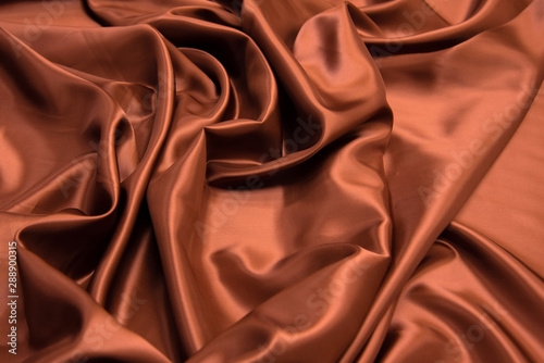 Brown viscose fabric texture. Background, pattern. Fototapet