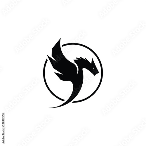 simple round black frame dragon logo icon design idea Fototapet