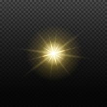 Vector Light Lens Flare Effect. Bright Golden Highlight. Space Star Explosion. Decorative Magic Christmas Element.