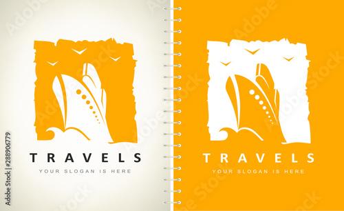Travels logo. Ship on the sea logo vector. Ship and wave vector. Canvas Print