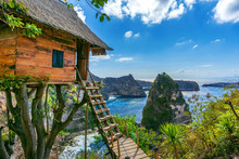 Tree House And Diamond Beach In Nusa Penida Island, Bali In Indonesia.