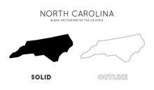 North Carolina Map. Blank Vector Map Of The Us State. Borders Of North Carolina For Your Infographic. Vector Illustration.