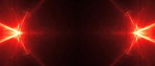 Red Circular Wave Glow. Kaleidoscope Lighting Effect.
