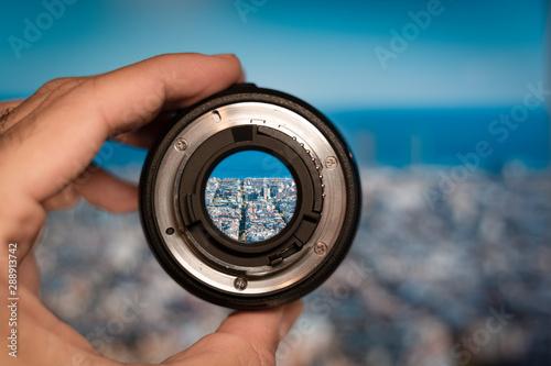 Barcelona general view through camera lens Wallpaper Mural