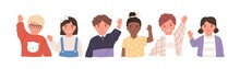 Kids Waving Hands Flat Vector Illustrations Set. Smiling Little Children In Casual Clothing Greeting Gesture. Cheerful Elementary School Students, Kindergarten Pupils Cartoon Characters Hi.