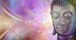 A moment of beautiful inspiration - buddha head against a vibrant multicoloured sparkling glowing ethereal energy formation background with copy space