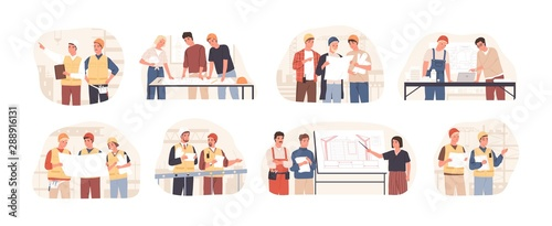 Photo Builders and architects flat vector illustrations set
