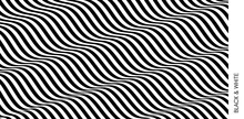 Black And White Design. Pattern With Optical Illusion. Abstract 3D Geometrical Background. Vector Illustration.
