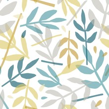 Rowan Leaves Hand Drawn Vector Seamless Pattern. Colorful Tree Branches Silhouettes Texture. Abstract Forest Flora Illustration. Chaotic Foliage Decorative Backdrop. Floral Textile, Wallpaper Design.
