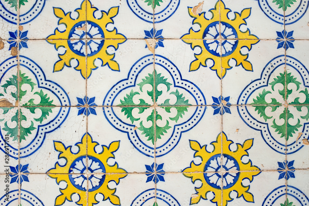 Fototapety, obrazy: Traditional portuguese decorative tiles azulejos.