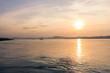 Sunset on the Irrawaddy River (Ayeyarwaddy River) in Bagan, Myanmar (Burma)