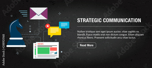 Fotografía Strategic communication, banner internet with icons in vector.
