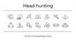 Head hunting line icon set