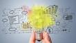 Leinwanddruck Bild - Light bulb banner, marketing concept, business idea. info graphic