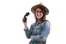 Brunette Scout Girl With Glasses Dressed In Denim Jacket And Hat, With Binoculars Smiling Isolated