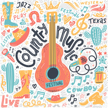 Set Of Country Music Elements For Postcards Or Festival Banners. Vector Hand Drawn Illustration In Flat Doodle Style. Guitar With Written Lettering.