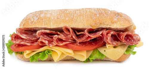 Keuken foto achterwand Snack Ciabatta sandwich with lettuce, tomatoes prosciutto and cheese isolated on white background