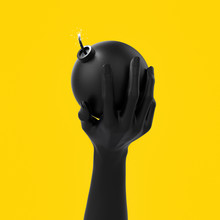 Black Hand Sculpture Holding A Bomb, Abstract Threat And Danger Concept, 3d Illustration,