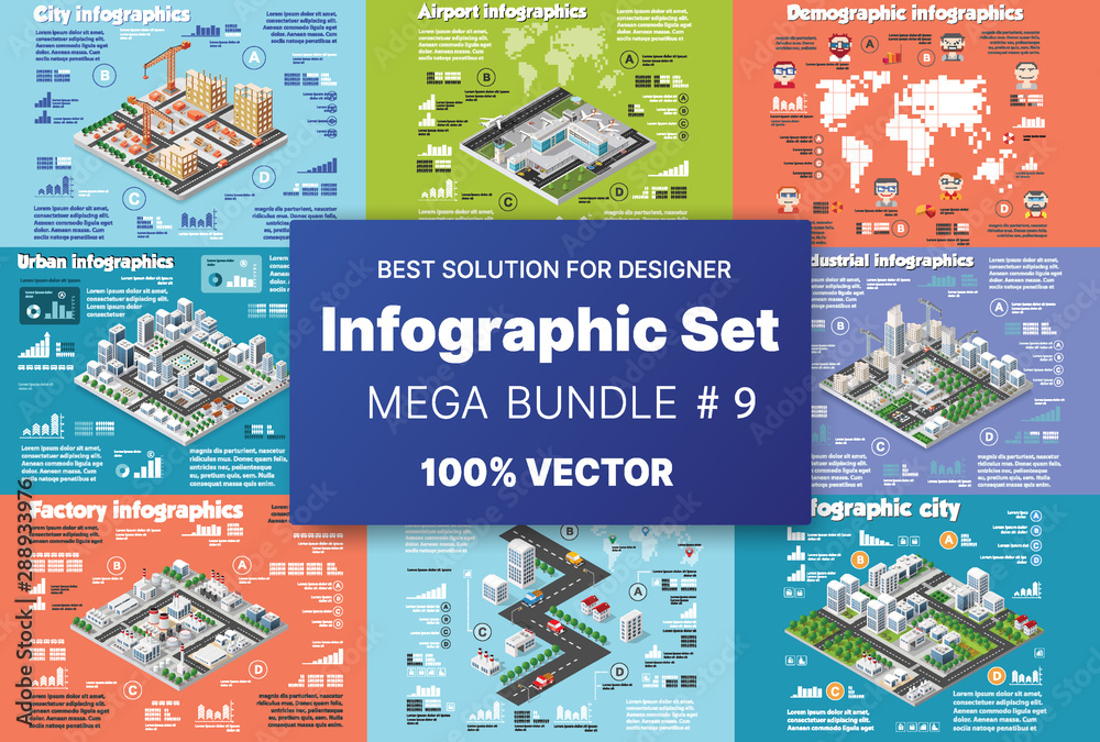Fototapety, obrazy: Isometric set infographics concept of blocks