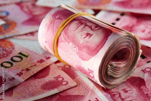 Fototapeta A pile of RMB banknotes Chinese yuan money obraz
