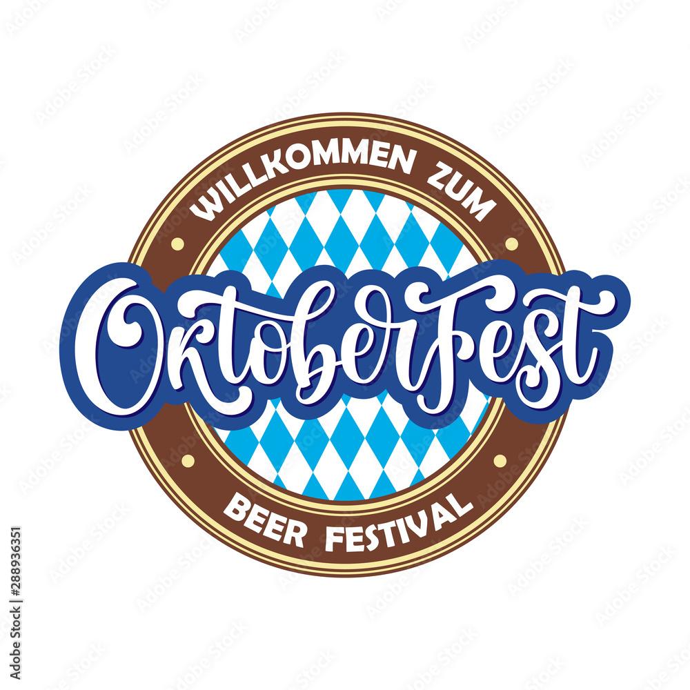 Fototapeta Oktoberfest hand drawn vector logotype. Illustration with brush lettering typography isolated on white background. Festive logo concept for Bavarian beer festival banner, greeting card, poster, flyer