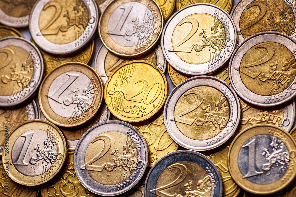 Fototapety, obrazy: Background of Euro coins money.United kingdom Pound coin.US coins.Group of coins