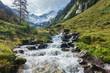 Wildbach in den Alpen mit Gletscher im Hintergrund