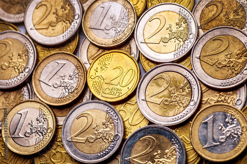 Fototapeta Background of Euro coins money.United kingdom Pound coin.US coins.Group of coins obraz