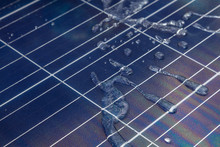 Solar Panel With Water Drops O...
