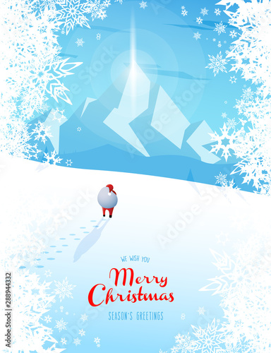 Fototapety, obrazy: Winter mountain landscape scenery with Santa Claus and Merry Christmas text with pine trees and stars.
