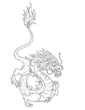 Black White Background With Dragon