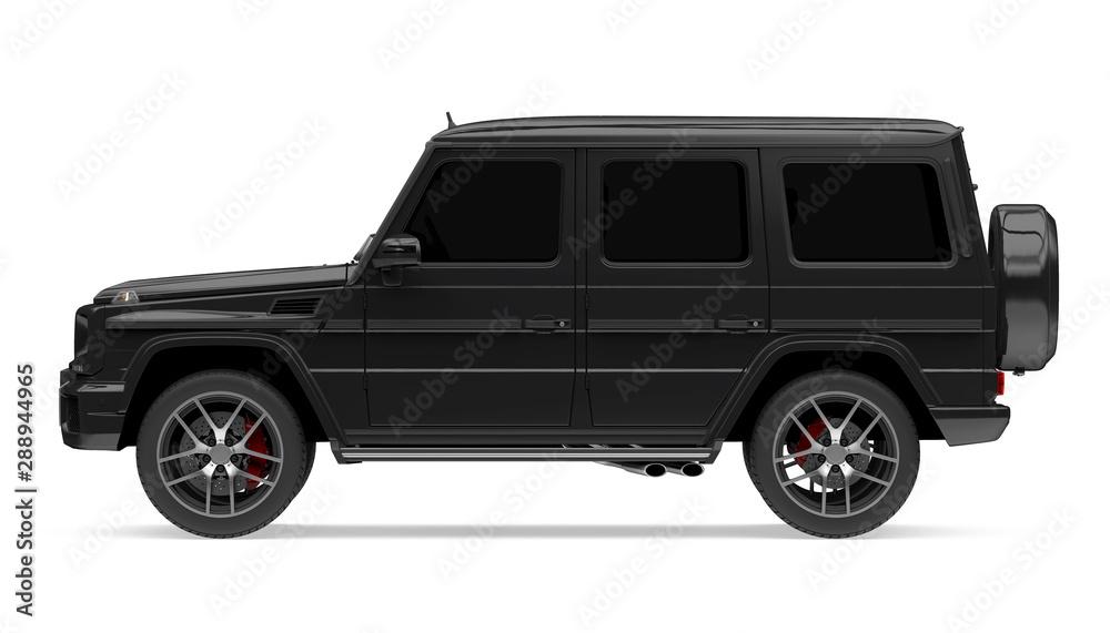 Fototapeta Black SUV Car Isolated
