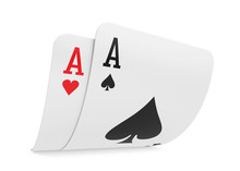 Pair Of Aces Playing Cards Isolated