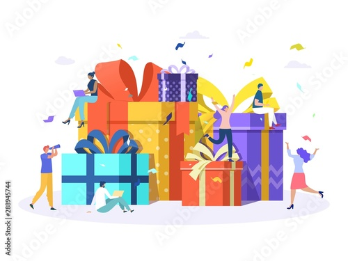 Group of happy people with pile of big gift box, online reward, man give a present to woman vector illustration concept, can use for, landing page, template, ui, web, homepage, poster, banner, flyer