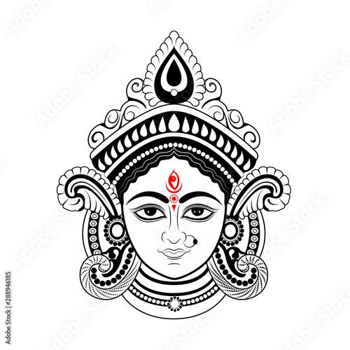 Fotografie, Obraz  illustration of Goddess Durga Face in Happy Durga Puja Subh Navratri Indian reli