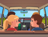 Four people family on vacation car road trip