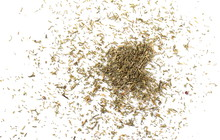 Pile Of Dry Dill Isolated On White Background, Top View
