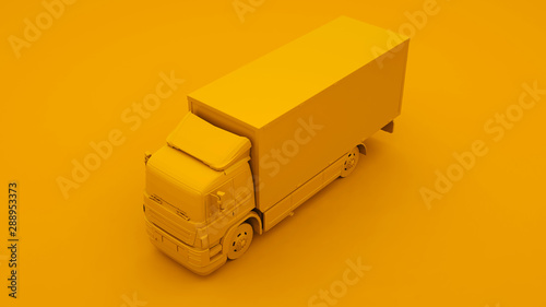Fotomural Yellow Truck. Minimal idea concept. 3d illustration
