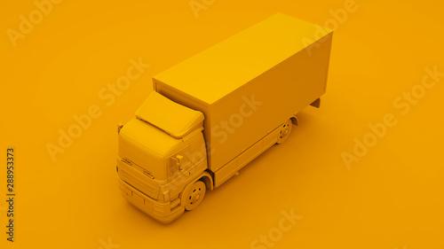 Fotomural  Yellow Truck. Minimal idea concept. 3d illustration