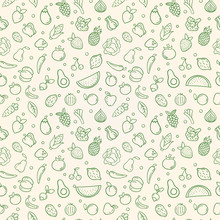 Green Food Seamless Pattern Of Vegetable Fruits